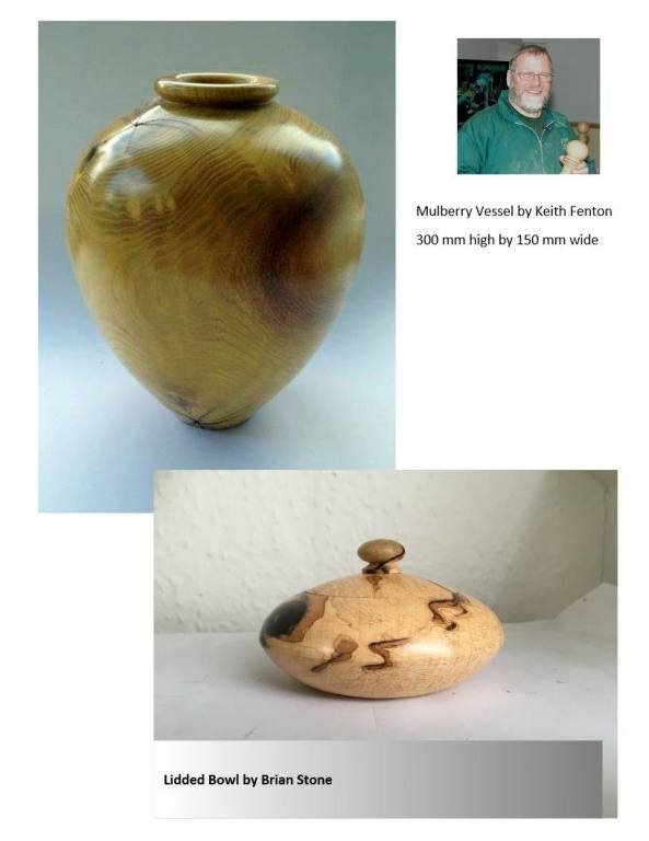 Mulberry vessel made by Keith Fenton and Lidded bowl by Brian Stone