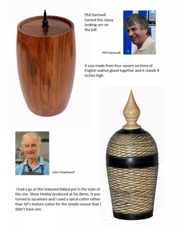 Small urn made from Walnut by Phil Hartwell and a textured box by John Hawkeswell