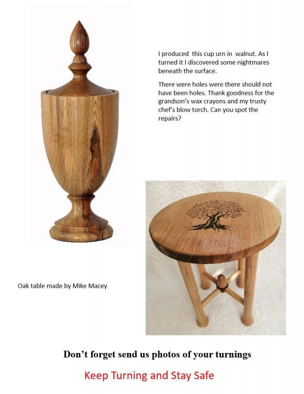 Cup urn in Walnut ny John Hawkeswell and oak table by Mike Macey
