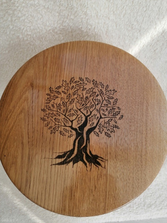 Oak table showing pyrography by Mike Macey