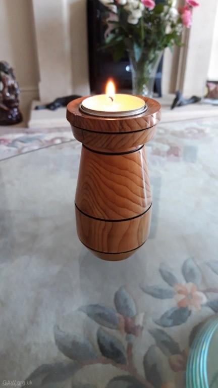 Yew tea light holder by Bob Holder